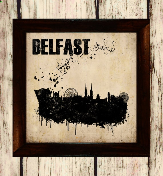 Items similar to belfast skyline silhouette vintage for Home decor northern ireland