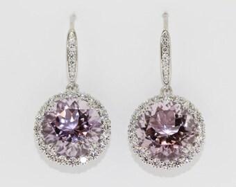 925 Rose De France w / White Topaz Earrings