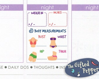 Weekly weigh in measurement stickers [Printable]. Weight lost, inch lost, bust, waist, hip, thigh inches. For Erin Condren Planner. stickers