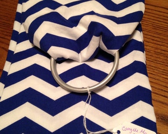 Blue and white ring sling for baby, toddler or pet.  Up to 30 lbs!