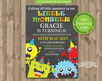 Instant Download-Monster Theme Invitation Card Printable -Free thank you card-PDF format-for personal use only