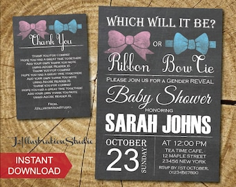 Instant Download- Gender reveal baby shower invitation -FREE thank you card-digital file