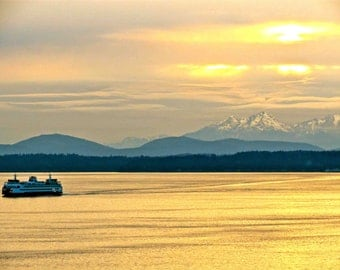 Seattle Ferry & Olympic Mountains, Sunset On Puget Sound