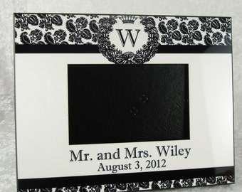 Personalized Damask Wedding Frame in Black and White