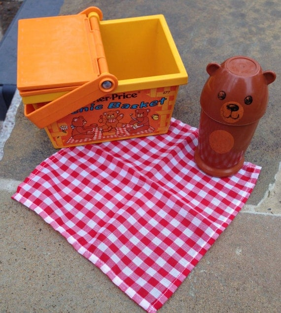 Toy Picnic Basket : Vintage fisher price toy picnic basket by giddies on etsy