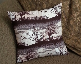 Halloween Full Moon, Cemetary, graveyard, Tree and Crows Pillow Cover 16 x 16 inches Throw pillow sofa pillow living room decor