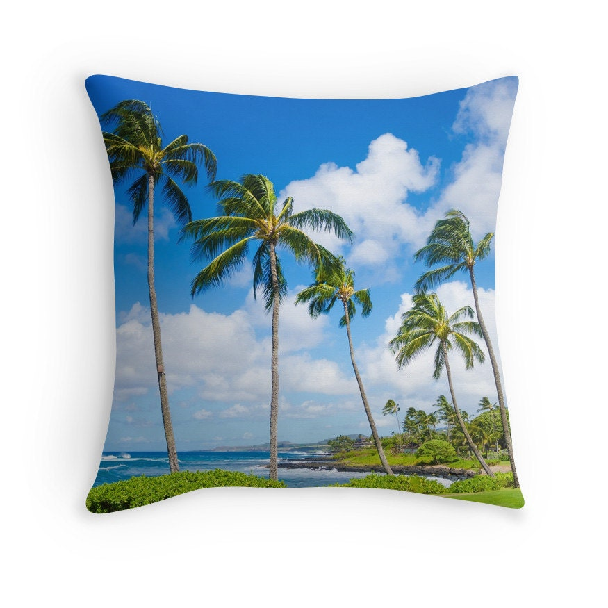 Decorative Pillow Palm Tree : Palm Tree Throw Pillow Personalized Hawaii Sky by EllenSmilePhoto