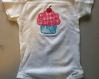 Adorable Cupcake Applique Embroidered Onesie. Personalized!