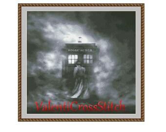 DOCTOR WHO Cross Stitch Pattern, Police box cross stitch, Doctor who patterns,Counted Cross stitch