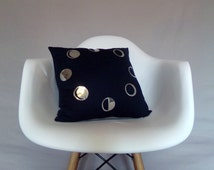 Moon Phases Pillow Cover Shiny Silver Navy Blue Reversible Metallic Reflective Foil Cushion Bold Throw Pillow Home Decor Accent Unique Mod