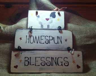 Homespun Blessings Wired Sign with Sheep