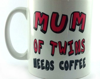 New Mum Of Twins Needs Coffee Gift Pink Mug Cup Present Perfect Gift For Mother's Mothers Day Birthday Christmas New Mum Mom Mommy