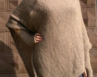 Brown merino wool poncho