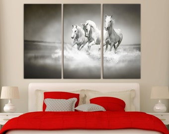 3 Panel Split, Running White Horses Canvas Print Triptych - Black and white photo art for home wall decor & interior design. Multi giclee.