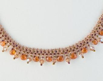 Mandarin Garnet Necklace, Statement Necklace, Beadwoven Necklace, Gemstone necklace, Garnet Necklace,Spessartine Necklace, Princess Necklace