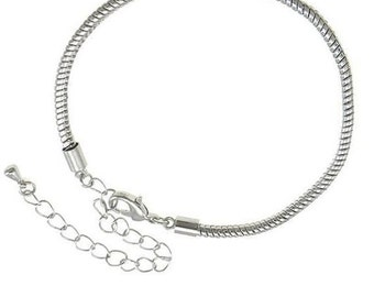 4 pcs Brass Euro Bracelet with Lobster, Silver Plated 15-20cm