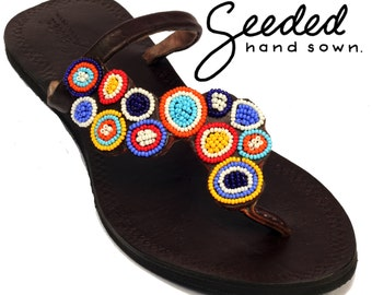 Funky multicolored beaded leather sandals, handmade in Tanzania - Second Quality