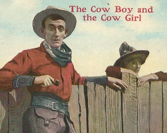 The Cow Boy and The Cow Girl, Antique 1909 Used Postcard