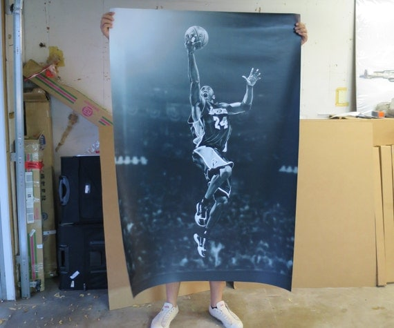 Poster Mural Kobe Bryant Los Angeles Lakers 40in x by XLPrintArt