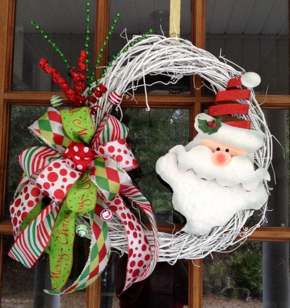 Santa Christmas Wreath Homemade White Painted Grapevine