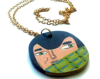 Illustrated wooden pendant. Illustrated man portrait-mandala wooden necklace, handmade one of a kind