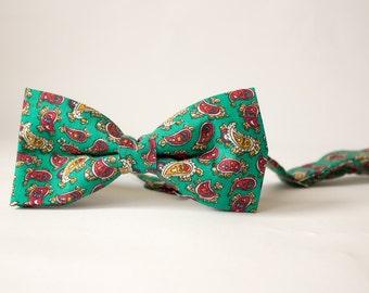 Green Mini Paisley Print Men's Bow Tie