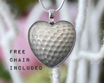 Heart shape golf ball necklace. Sports gift pendant. Free matching chain is included.