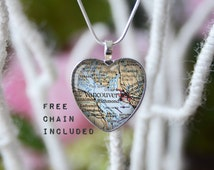 Vancouver British Columbia Canada heart shape vintage map necklace. Location gift pendant. Free matching chain is included.