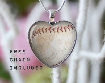 Heart shape baseball necklace. Sports gift pendant. Free matching chain is included.