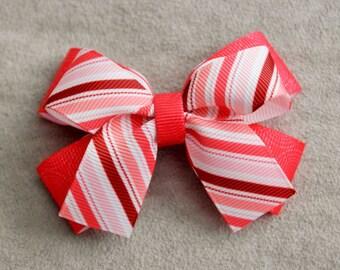 Rose Stripe Hair Bow Clip