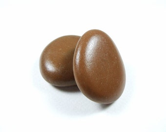 Two Brown Beach Pebbles, Stone Beads, Undrilled Stones