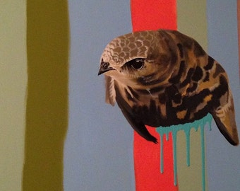 "Original Bird Painting. Common Swift Bird. ""No where to Land"" series."