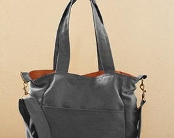 Sale 10% - Gray handbag, Diaper  bag, Shoulder bag, tote, Messenger bag, Pudding