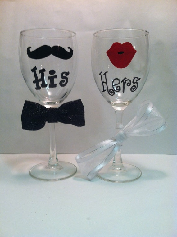 His Hers Wedding Gift Ideas : His and Hers wine glasses / Wedding gift for couples / Lips and ...
