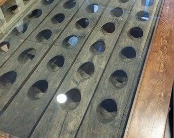 Reclaimed Wine Riddling Rack Trestle Table