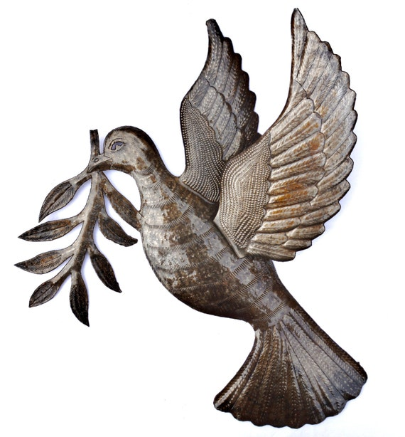 "Dove of Peace Recycled Metal Wall Art Birds from Haiti, Fair Trade 3 - Dimensional Winged Bird 17"" x 16"""
