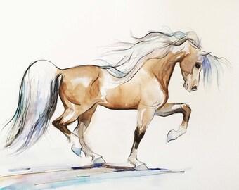 Watercolor Horse Art, Watercolor Original Drawing, Watercolor Pen and Ink Painting