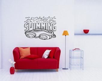 Swim Swimmer Sport Laps Gym Swimming Pool Water Exercise Aerobics Workout Backstroke Butterfly Stroke Breaststroke Wall Sticker Decal 3611