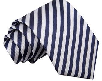 Thin Stripe White & Navy Blue Tie