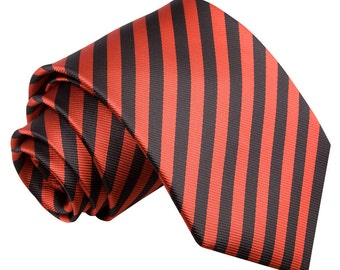 Thin Stripe Black & Red Tie