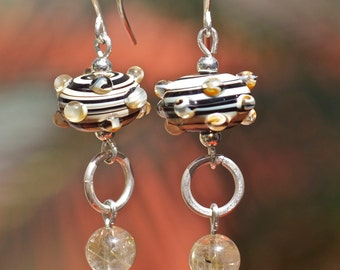 Lampwork jewelry Lampwork beads Natural citrine beads sterling silver dangle earrings Handcrafted Girlfriend gift Boho earrings