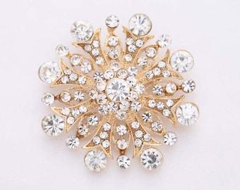 Rhinestone Gold Brooch, Gold Bridal Brooch, Crystal Gold Wedding Brooches, Diamante Gold Brooch, Rhinestone Gold Brooches