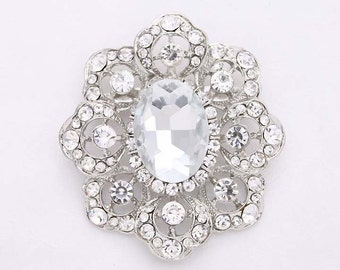 Rhinestone Bridal Brooch Jewelry, Silver Crystal Broaches, Rhinestone Dress Sash Brooch, Wedding Crafts, Diamante Broaches for Wedding