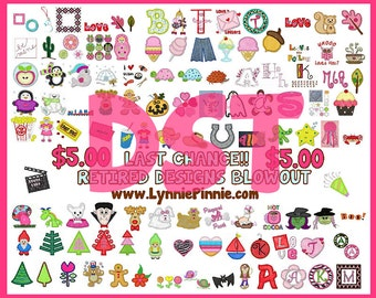 DST FORMAT Lynnie Pinnie Retired Designs DST format -- 115 designs and fonts!