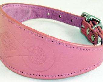 Pink Retro Embossed Leather Whippet Collar Greyhound Collar Dog Collars Galgo