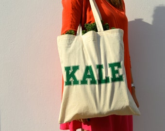 Kale Tote Bag. Screenprint Canvas Tote. Ivy League Yale.