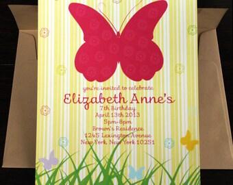 Butterfly Invitation 10/pk | Sweet 16 Invitation | Butterfly Party Invitation | Yellow Invitation | Baby Girl Invitation