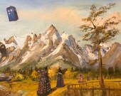 Grand Tetons Extermination is a PRINT of a geekily repurposed thrift store painting