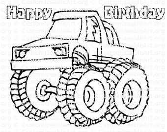 Monster Truck Party Favor Coloring Page Favors Printable