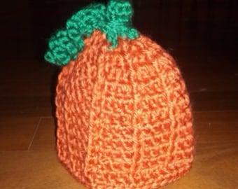 Newborn crochet pumpkin hat with vines
